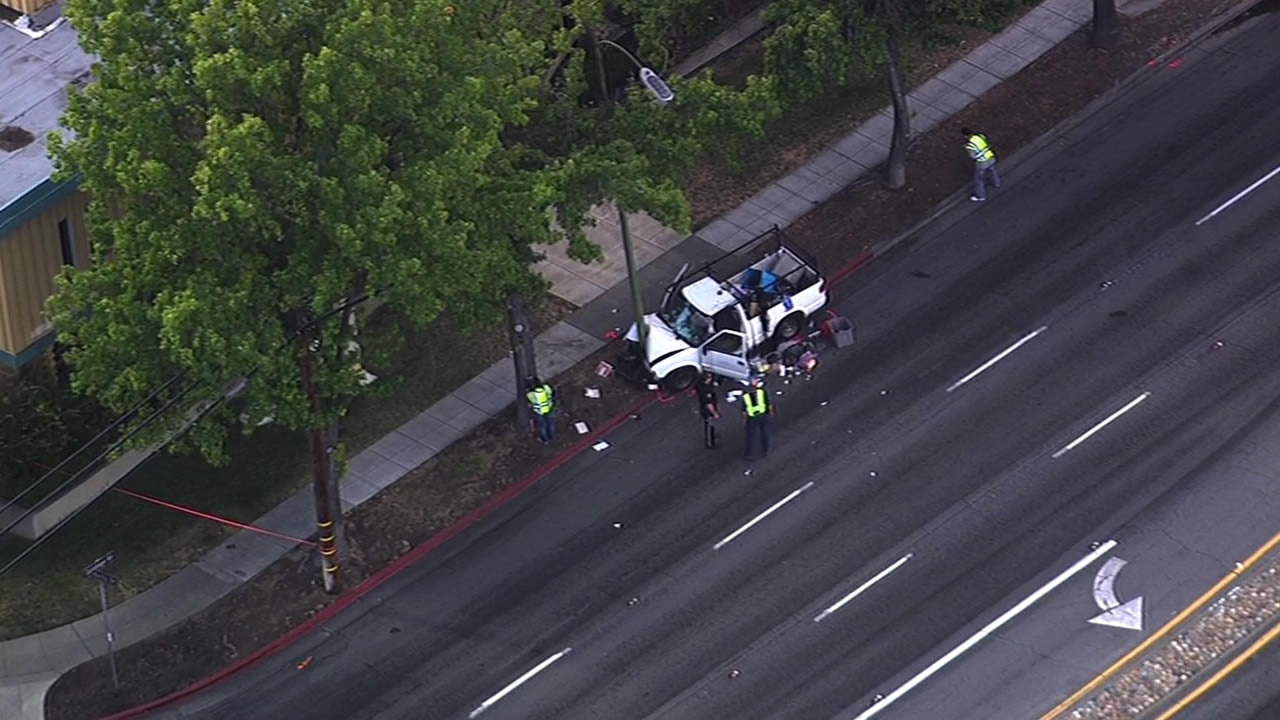 A man died after crashing a car into a light post in the 800 block of Saratoga Avenue in San Jose on Tuesday, July 7, 2015.