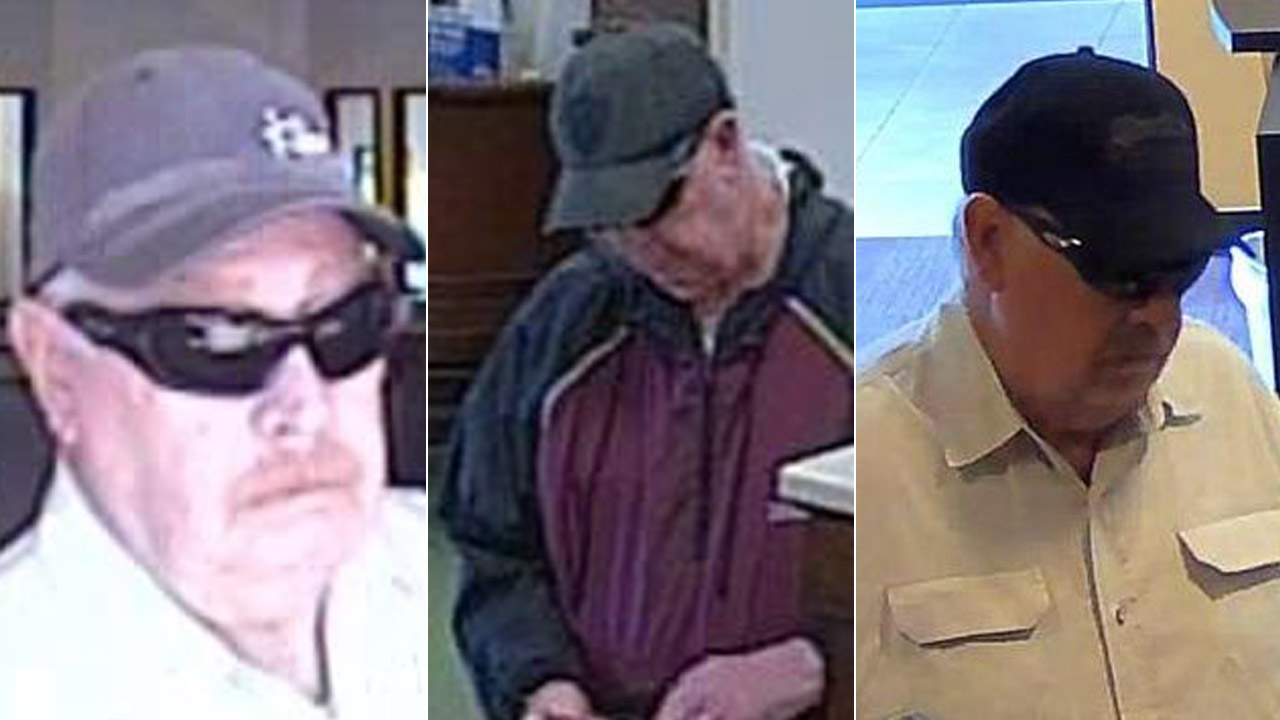 A bank robbery suspect dubbed the 'Snowbird Bandit' is shown in various surveillance images provided by the FBI.