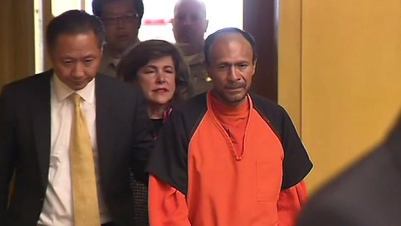 Francisco Sanchez, 45, who's accused of shooting and killing a 32-year-old woman at Pier 14, made his first court appearance in San Francisco on Tuesday, July 7, 2015.