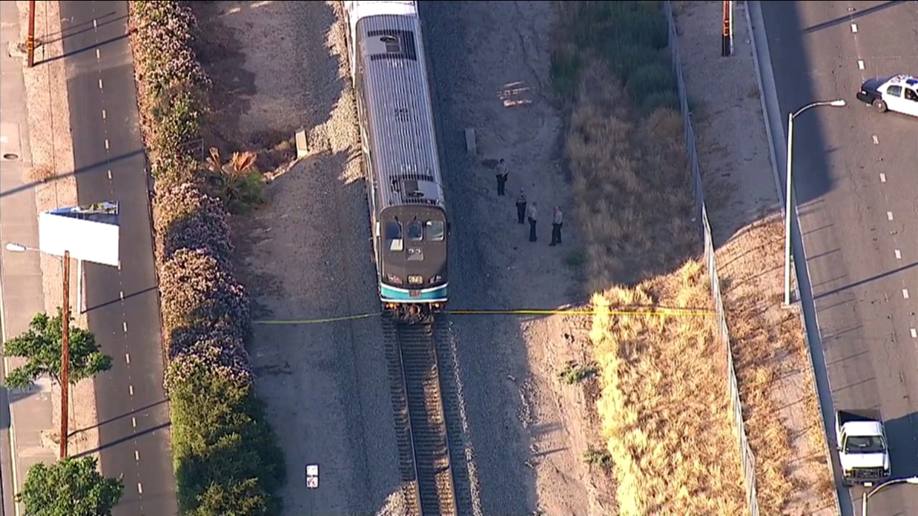 A Metrolink train struck and killed a pedestrian on the tracks in Santa Clarita on Tuesday, July 7, 2015.