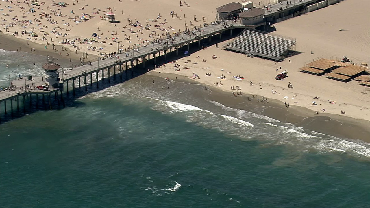 An aerial image of Huntington Beach is shown on Friday, July 10, 2015.