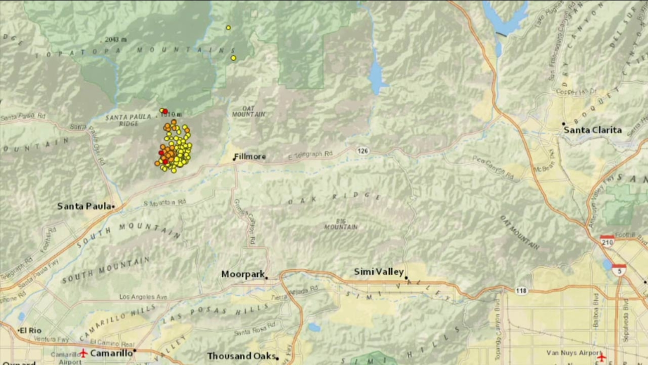 This U.S. Geological Survey map shows a cluster of small earthquakes that struck from Sunday night to Monday morning in Ventura County.