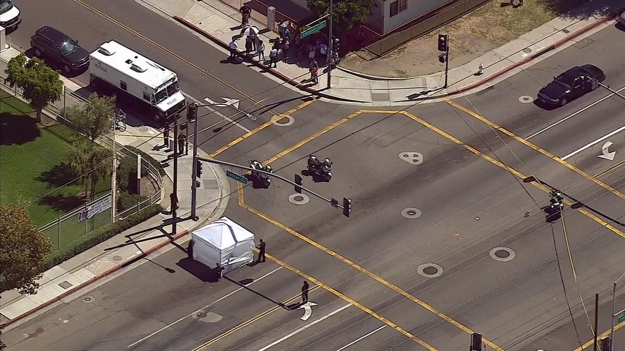 Santa Ana police investigate after a teen riding a bicycle was struck and killed in a crosswalk on Monday, July 13, 2015.