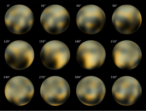 "<div class=""meta image-caption""><div class=""origin-logo origin-image none""><span>none</span></div><span class=""caption-text"">This combination of images made by NASA's Hubble Space Telescope in 2002 and 2003 shows Pluto at different angles. (AP Photo/ NASA, ESA, M. Buie)</span></div>"