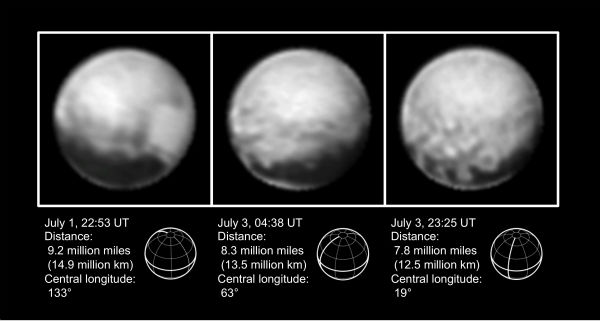"<div class=""meta image-caption""><div class=""origin-logo origin-image none""><span>none</span></div><span class=""caption-text"">This combination of images from July 1 to July 3, 2015, provided by NASA shows Pluto at different distances from the New Horizons spacecraft. (AP Photo/NASA via Pluto)</span></div>"