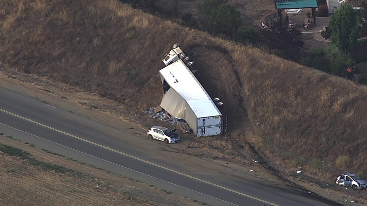 A big rig overturned after hitting several vehicles on Highway 84 in Livermore on Wednesday, July 15, 2015.