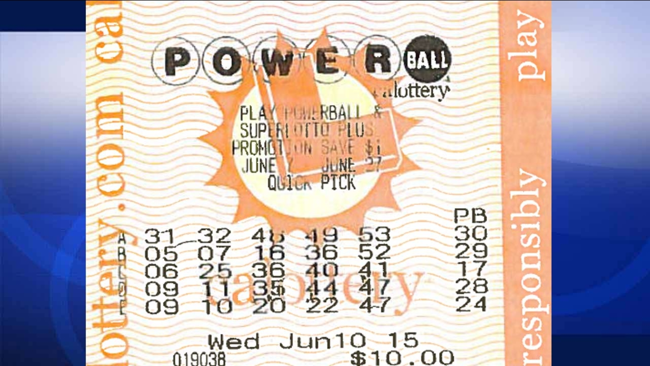 Image of Richard Denning's winning Powerball ticket. Denning won $1,109,553 by matching five of six numbers on line 'A' for the June 10, 2015 drawing.