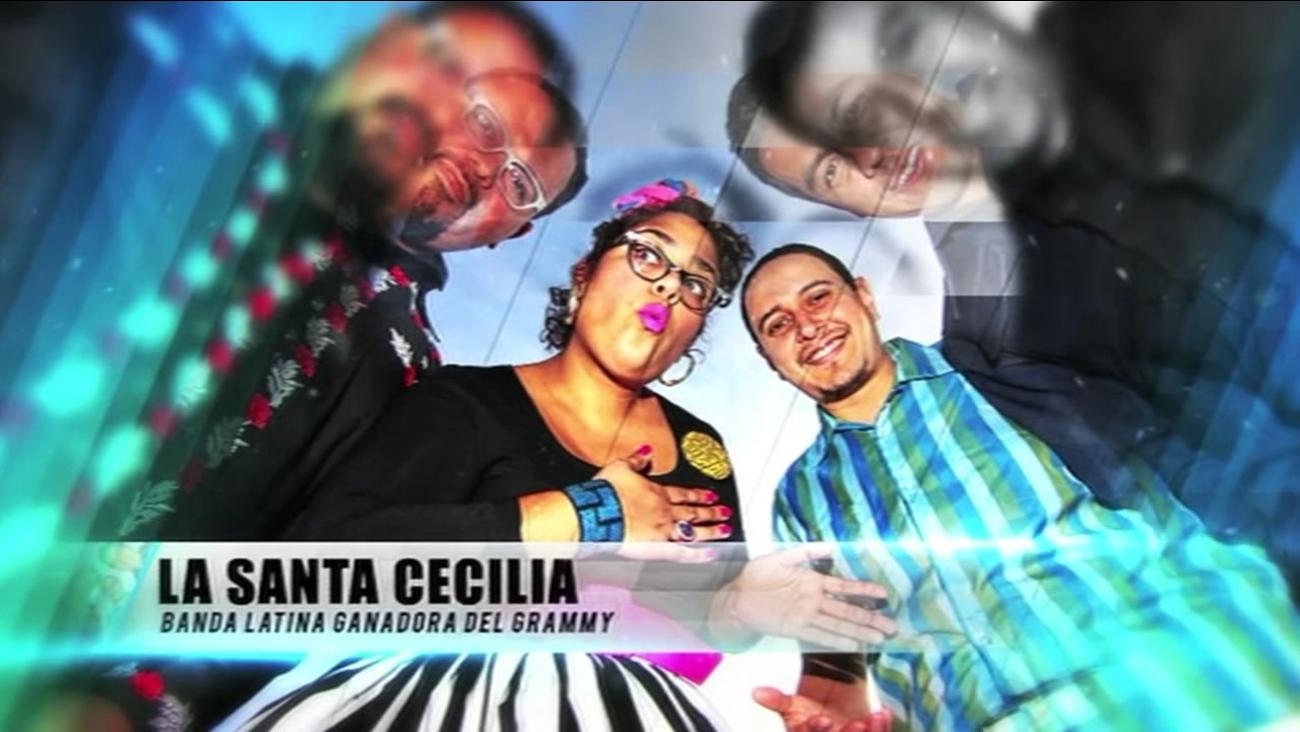 FILE- In this undated image, La Santa Cecilia band poses for a photo.