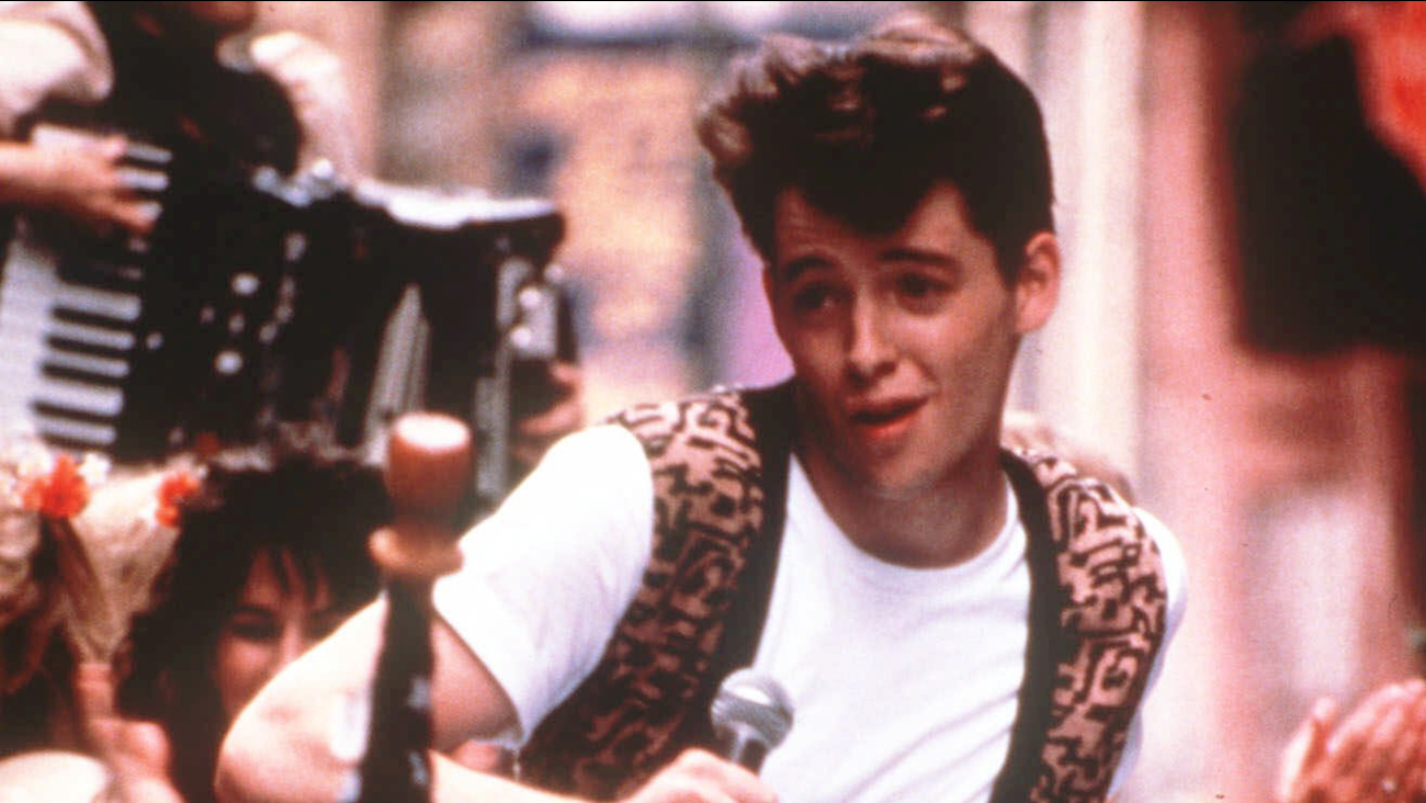 """FILE - In this photo provided by Paramount Pictures, actor Matthew Broderick appears from a scene from the film """"Ferris Bueller's Day Off"""" in 1986.."""
