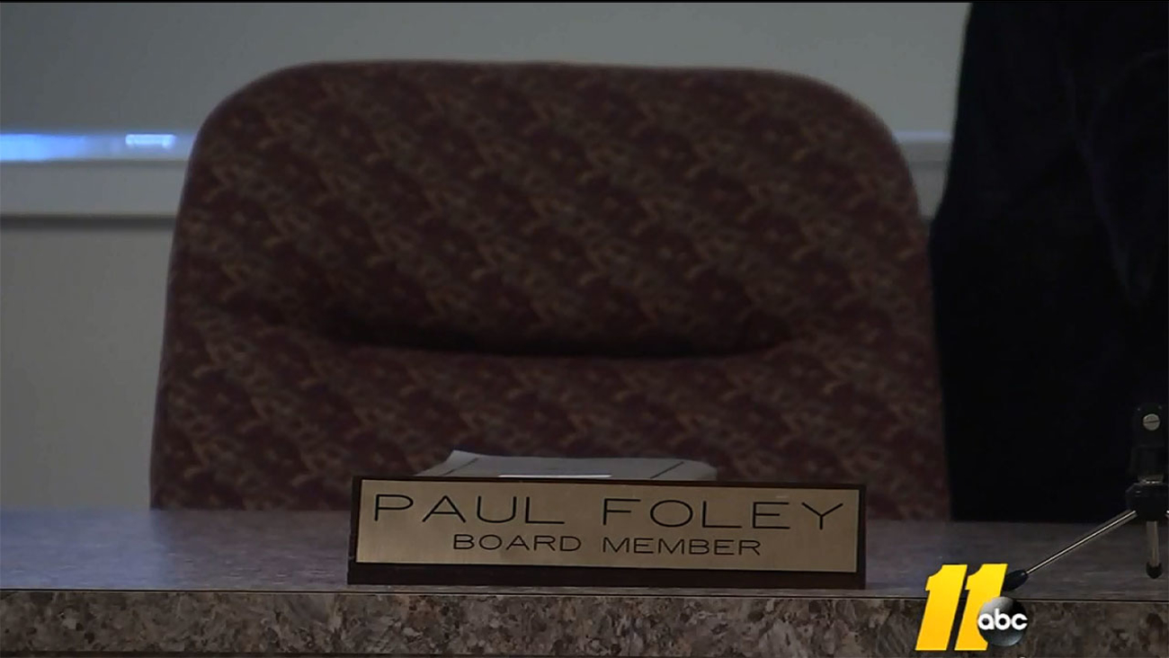 NC Elections board member Paul Foley's seat at board meeting