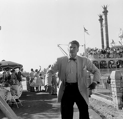 "<div class=""meta image-caption""><div class=""origin-logo origin-image none""><span>none</span></div><span class=""caption-text"">Actor Ronald Reagan attends the opening day of Disneyland in Anaheim, Calif. (Earl Leaf/Michael Ochs Archives/Getty)</span></div>"