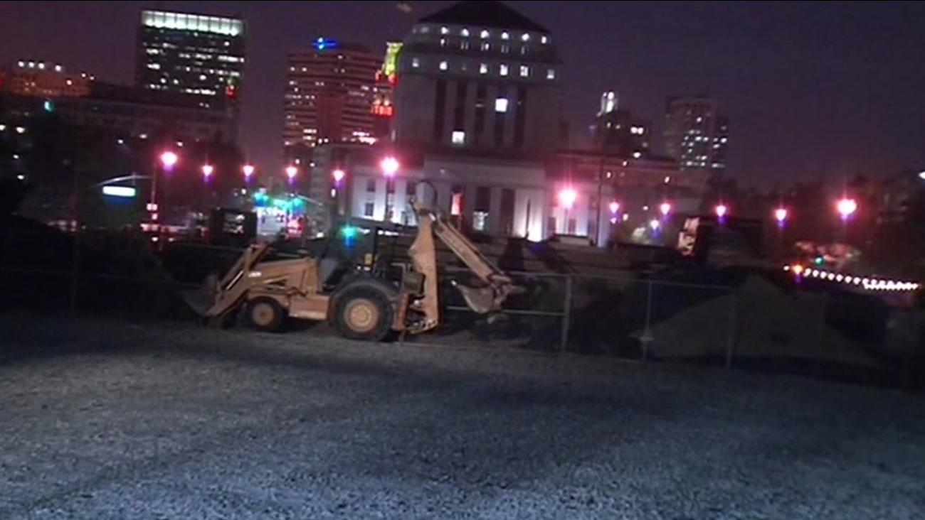 bulldozer near Lake Merritt in Oakland