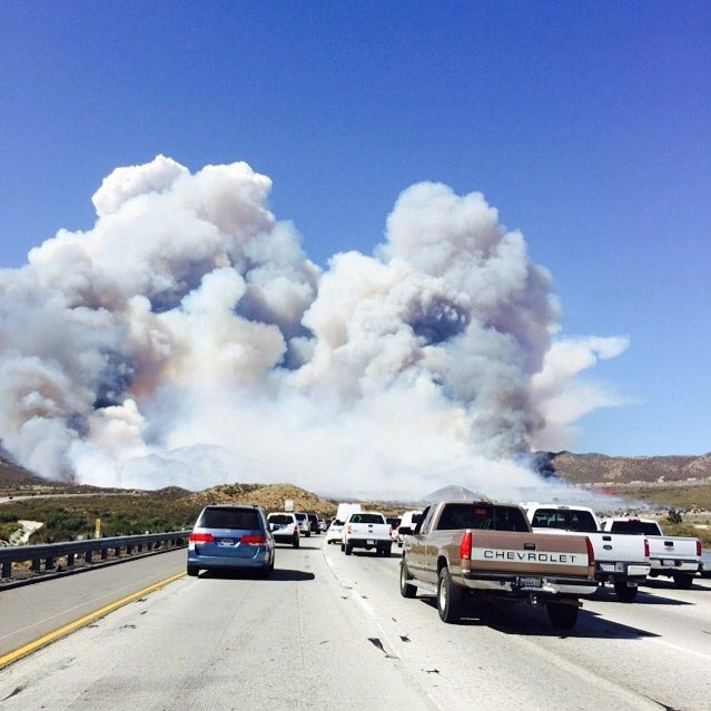 "<div class=""meta image-caption""><div class=""origin-logo origin-image kabc""><span>KABC</span></div><span class=""caption-text"">ABC7 viewer K Razeeq sent in this photo of the North Fire from the 15 Freeway on Friday, July 17, 2015. (K Razeeq)</span></div>"