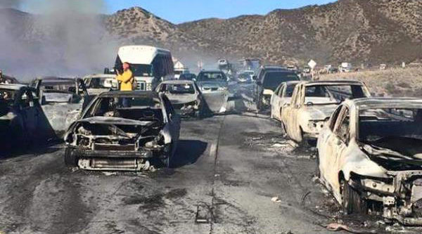ABC7 viewer Jaime Ramos sent in this photo of burnt cars on the 15 Freeway in the aftermath of the North Fire on Friday, July 17, 2015.