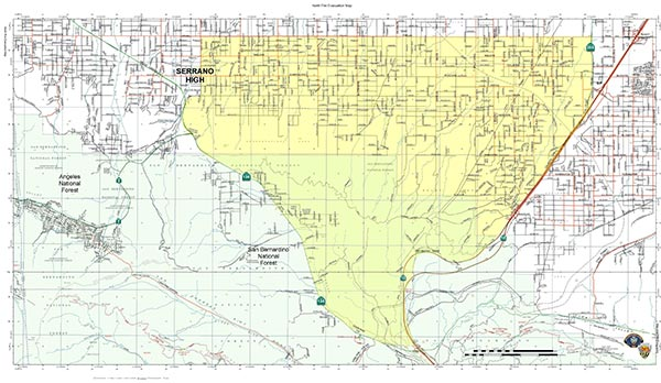 A map of the evacuation zone from the North Fire is shown in this photo.