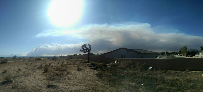 "<div class=""meta image-caption""><div class=""origin-logo origin-image none""><span>none</span></div><span class=""caption-text"">A view of the smoke from the North Fire seen by ABC7 viewer Alyssa Ralph in Apple Valley on Saturday, July 18, 2015. (ABC7 viewer Alyssa Ralph)</span></div>"