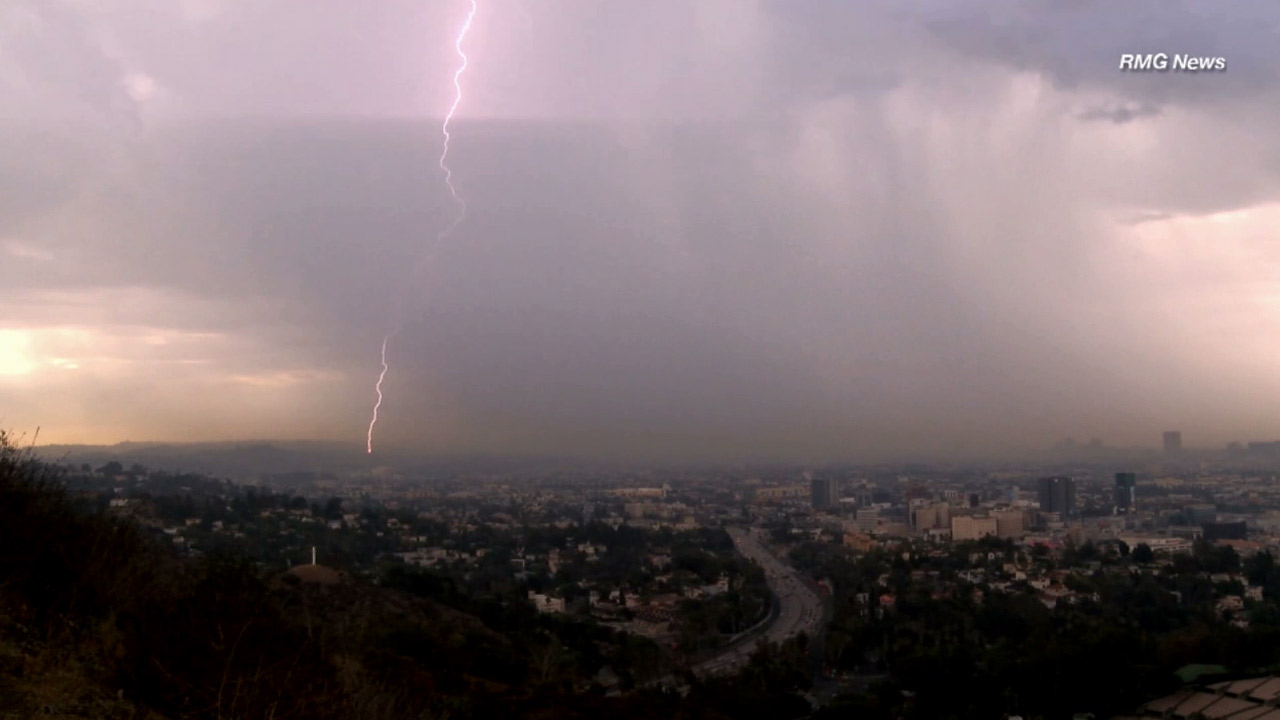 A lightning strike over Los Angeles is caught in a photo on Saturday, July 18, 2015.