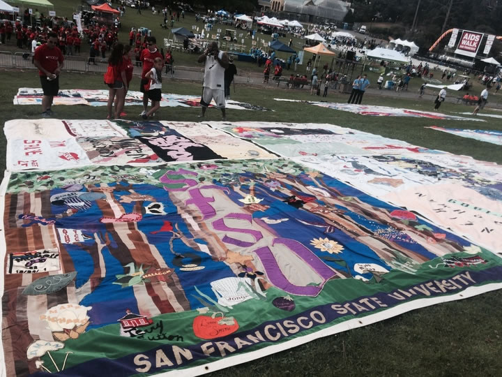 "<div class=""meta image-caption""><div class=""origin-logo origin-image none""><span>none</span></div><span class=""caption-text"">AIDSQuilt sets up panels in memory of those lost to HIV/AIDS at Golden Gate Park for AIDS Walk San Francisco on Sunday, July 19, 2015. (KGO-TV)</span></div>"