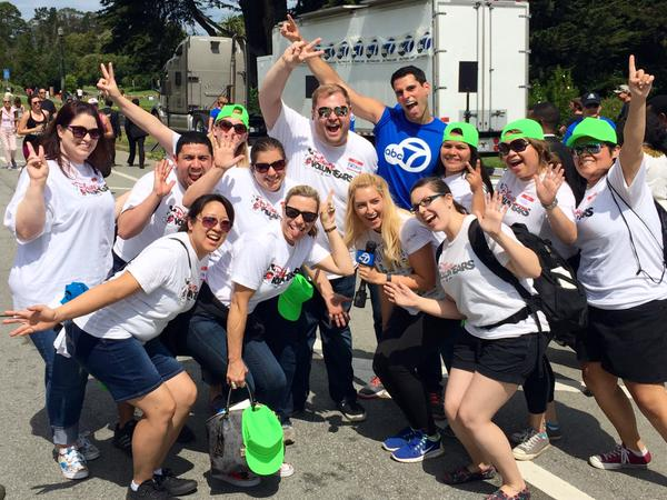 """<div class=""""meta image-caption""""><div class=""""origin-logo origin-image none""""><span>none</span></div><span class=""""caption-text"""">ABC7 Meteorologist Drew Tuma strikes a pose with some Disney voluntEARS at AIDS Walk San Francisco in Golden Gate Park on Sunday, July 17, 2015. (Photo submitted to KGO-TV by Brian C/Twitter)</span></div>"""