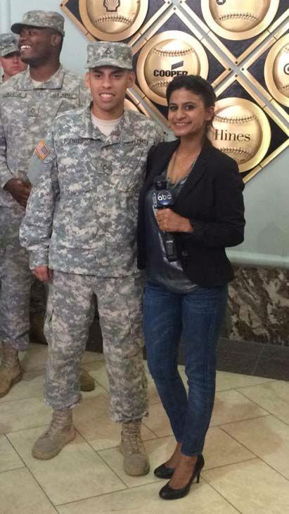 "<div class=""meta image-caption""><div class=""origin-logo origin-image none""><span>none</span></div><span class=""caption-text"">Pooja Lodhia with some of our military (KTRK Photo)</span></div>"