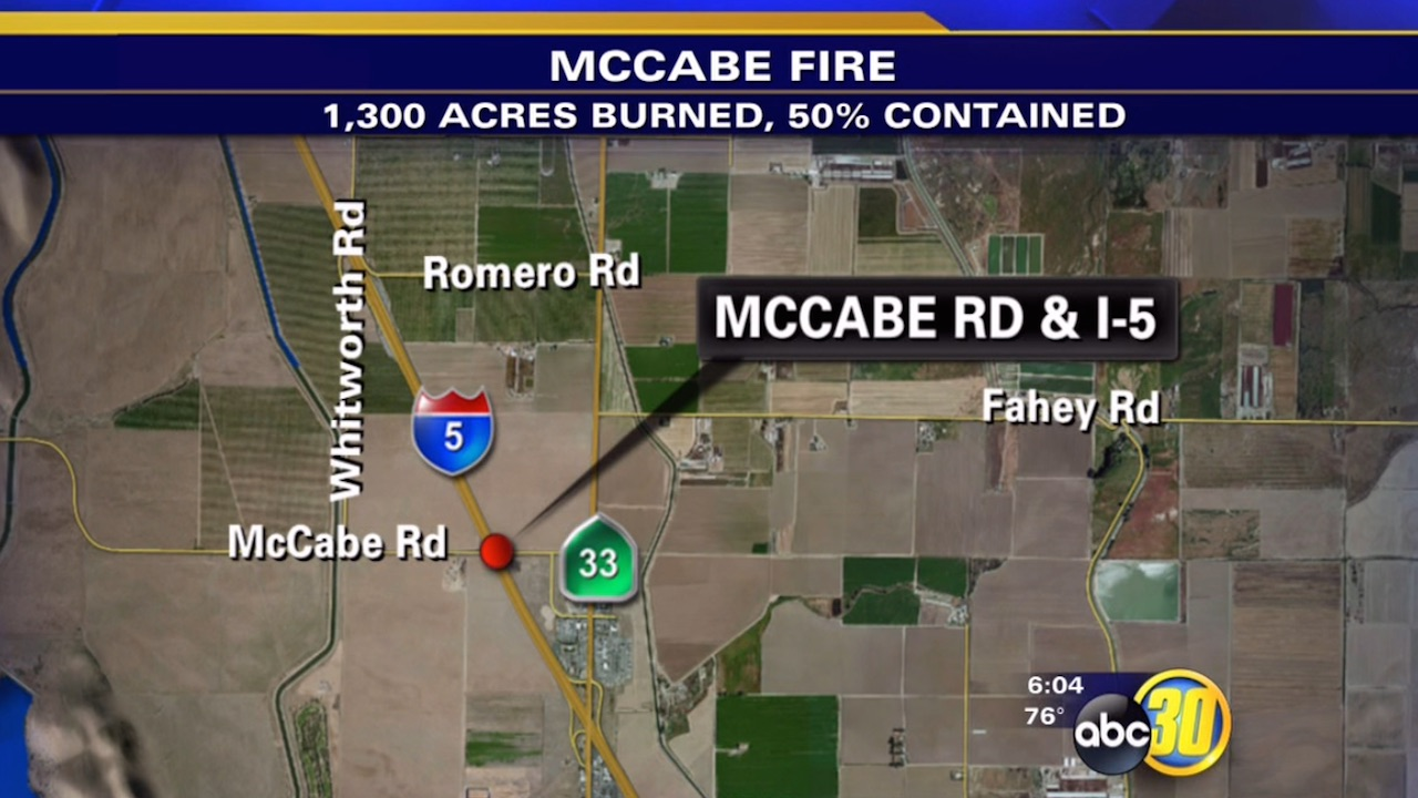 Brush fire burns near Interstate 5 in Merced County