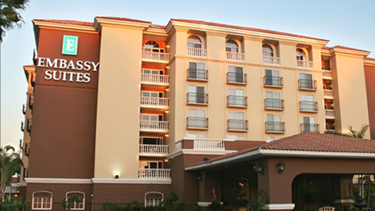 The exterior of Embassy Suites in Anaheim is seen in this photo from the company's website.