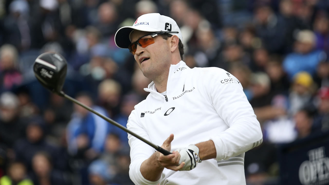 United States' Zach Johnson drives a ball from the 17th tee during the final round at the British Open Golf Championship