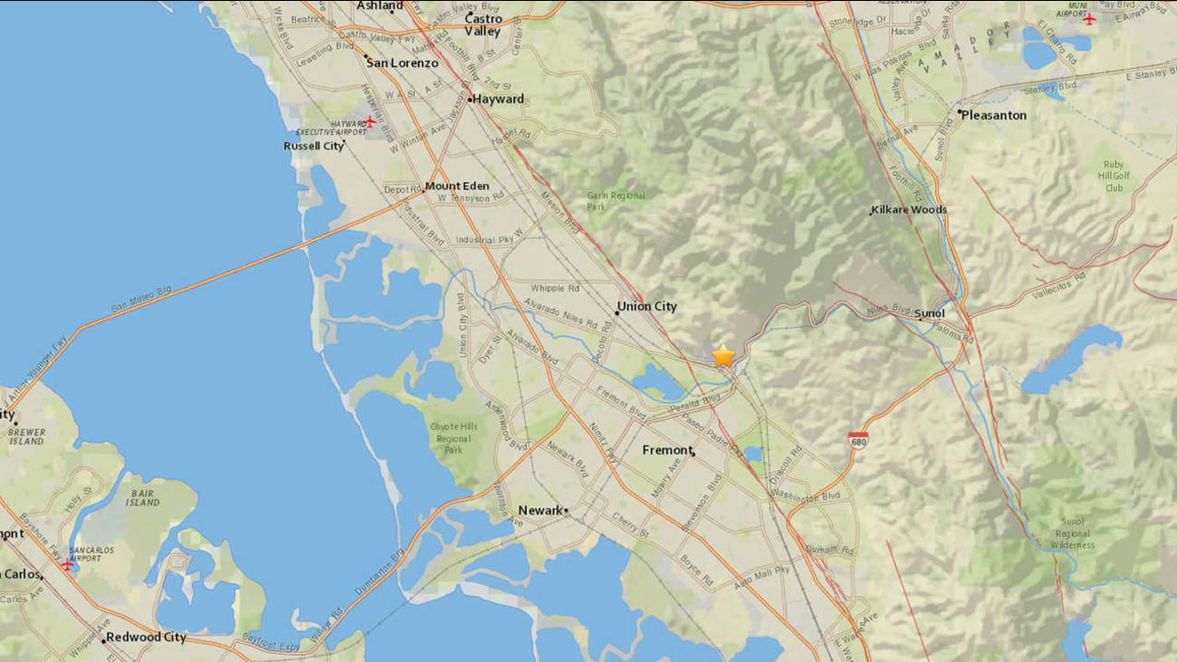 USGS map of Union City earthquake