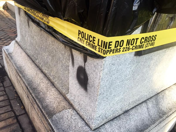 "<div class=""meta image-caption""><div class=""origin-logo origin-image none""><span>none</span></div><span class=""caption-text""><i>The Confederate monument that faces Morgan Street from Union Square at the State Capitol building was covered in black spray-paint.</i> (Jim Schumacher/Anthony Wilson)</span></div>"