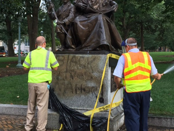 "<div class=""meta image-caption""><div class=""origin-logo origin-image none""><span>none</span></div><span class=""caption-text""><i>The Confederate monument that faces Morgan Street from Union Square at the State Capitol building was covered in black spray-paint.</i> (WTVD Photo/ Jim Schumacher)</span></div>"