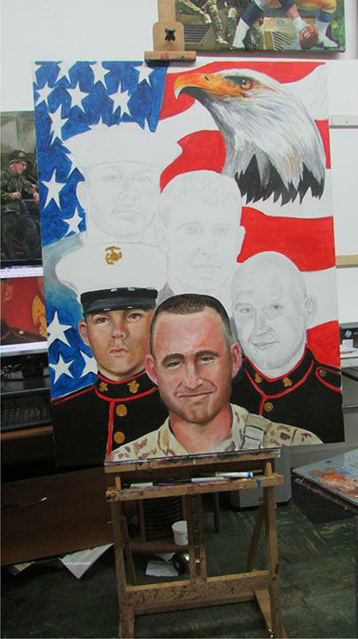 """<div class=""""meta image-caption""""><div class=""""origin-logo origin-image none""""><span>none</span></div><span class=""""caption-text"""">Baytown resident Ken Pridgeon is working on a portrait of the four Marines and the one sailo who were shot and killed in Chattanooga, TN. (KTRK Photo)</span></div>"""