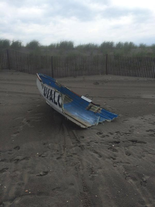 """<div class=""""meta image-caption""""><div class=""""origin-logo origin-image none""""><span>none</span></div><span class=""""caption-text"""">Action News viewer Andrea Stickley: Damage from the storms that came through this afternoon to the lifeguard boats and stands in Avalon</span></div>"""