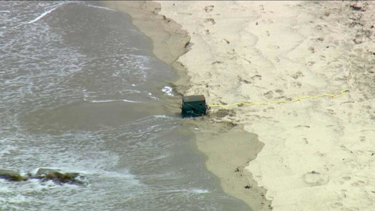 A military ammunition box marked 'explosives' was found floating in the ocean about 200 yards off of the waterline at Ruby Street and the bike path in Redondo Beach Tuesday, July 21, 2015.