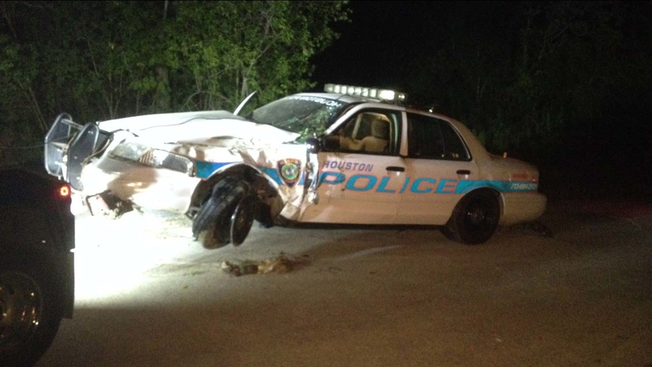 The HPD cruiser that went into a ditch during a chase in northeast Houston