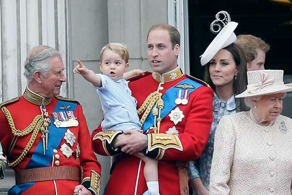 <div class='meta'><div class='origin-logo' data-origin='none'></div><span class='caption-text' data-credit='AP Photo/Tim Ireland'>Three generations of princes -- George, William and Charles -- appeared on the balcony of Buckingham Palace during Queen Elizabeth II's birthday parade in June 2015.</span></div>