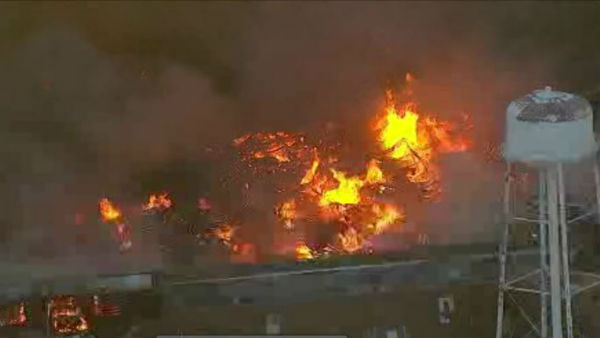 """<div class=""""meta image-caption""""><div class=""""origin-logo origin-image none""""><span>none</span></div><span class=""""caption-text"""">A raging warehouse fire in North Brunswick, N.J., Wednesday morning had an impact on a major highway and prompted local evacuations. (WABC)</span></div>"""