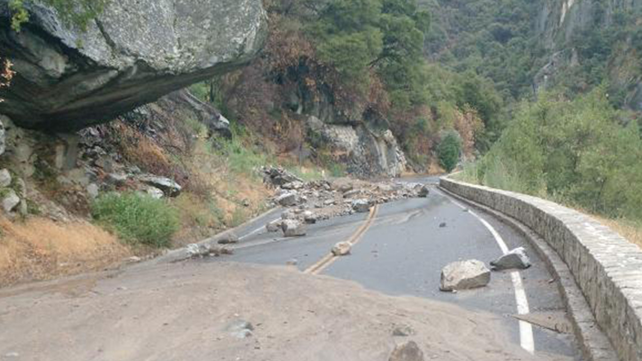 Yosemite officials say heavy rains in an old fire zone brought mud and water across Highway 140 on Tuesday, July 21, 2015.