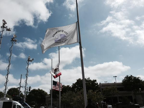 "<div class=""meta image-caption""><div class=""origin-logo origin-image none""><span>none</span></div><span class=""caption-text"">Flags were lowered to half staff at the Hayward Police Dept. in honor of Sgt. Scott Lunger, who was shot and killed during a traffic stop in Hayward, Calif. on July 22, 2015. (KGO-TV/Laura Anthony)</span></div>"
