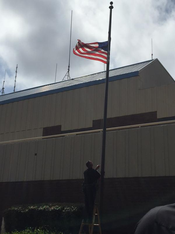 "<div class=""meta image-caption""><div class=""origin-logo origin-image none""><span>none</span></div><span class=""caption-text"">Flags were lowered to half staff at the Hayward Police Dept. in honor of Sgt. Scott Lunger, who was shot and killed during a traffic stop in Hayward, Calif. on July 22, 2015. (KGO-TV/Katie Utehs)</span></div>"