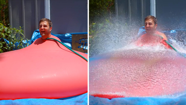 Video Watch As This Giant Water Balloon Pops In Slow Motion With Man Inside 6abc Com