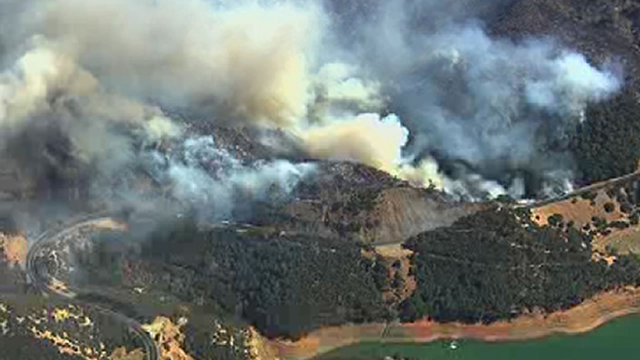 wildfire is burns south of Lake Berryessa