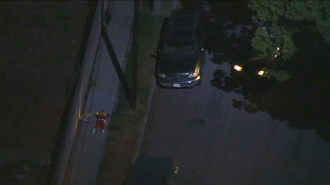 Three people were taken into custody after leading police on a high-speed chase from Long Beach to Carson Wednesday, July 22, 2015.