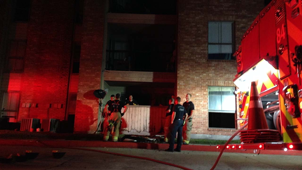 The scene outside the Canfield Apartments in north Harris County