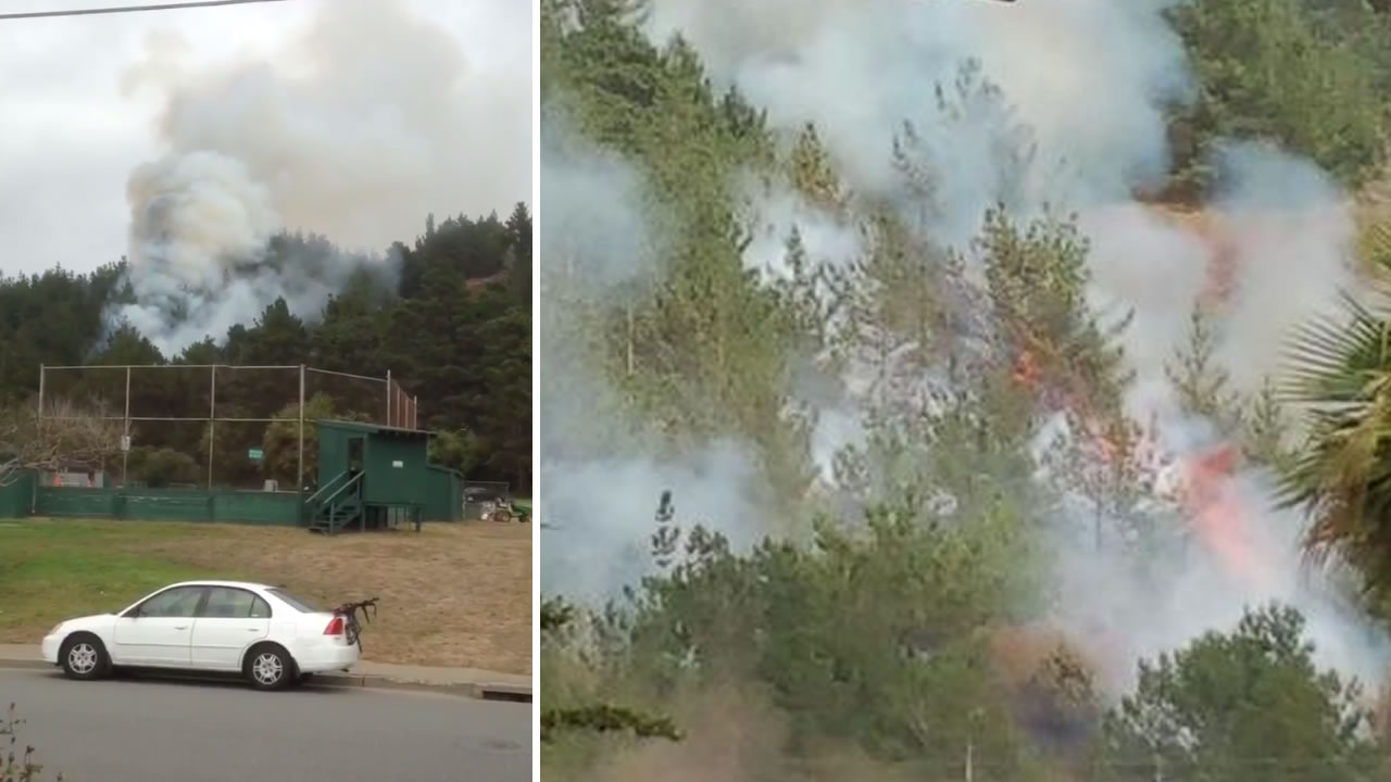 Crews battled a two-alarm fire burning in Pacifica, Calif. on Thursday, July 23, 2015.