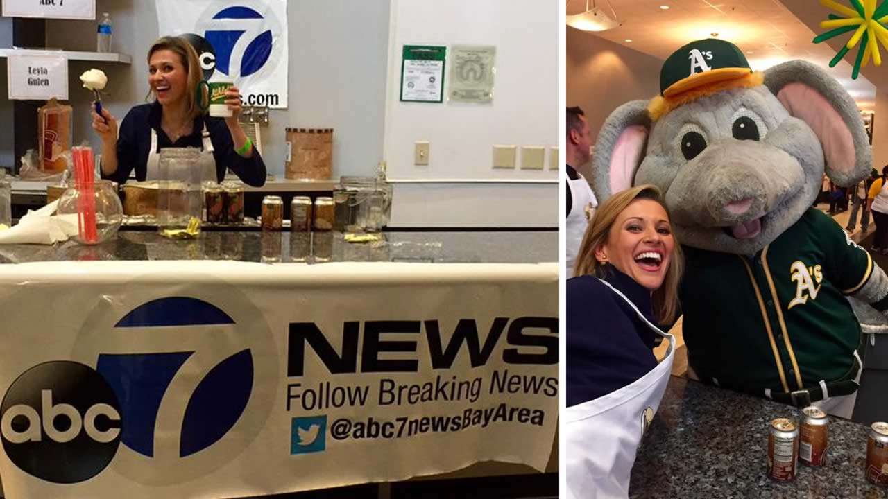 ABC7 News Traffic Reporter Leyla Gulen scooped up sweet treats at the Oakland Athletics' annual Root Beer Float Day in Oakland, Calif. on Wednesday, July 22, 2015.