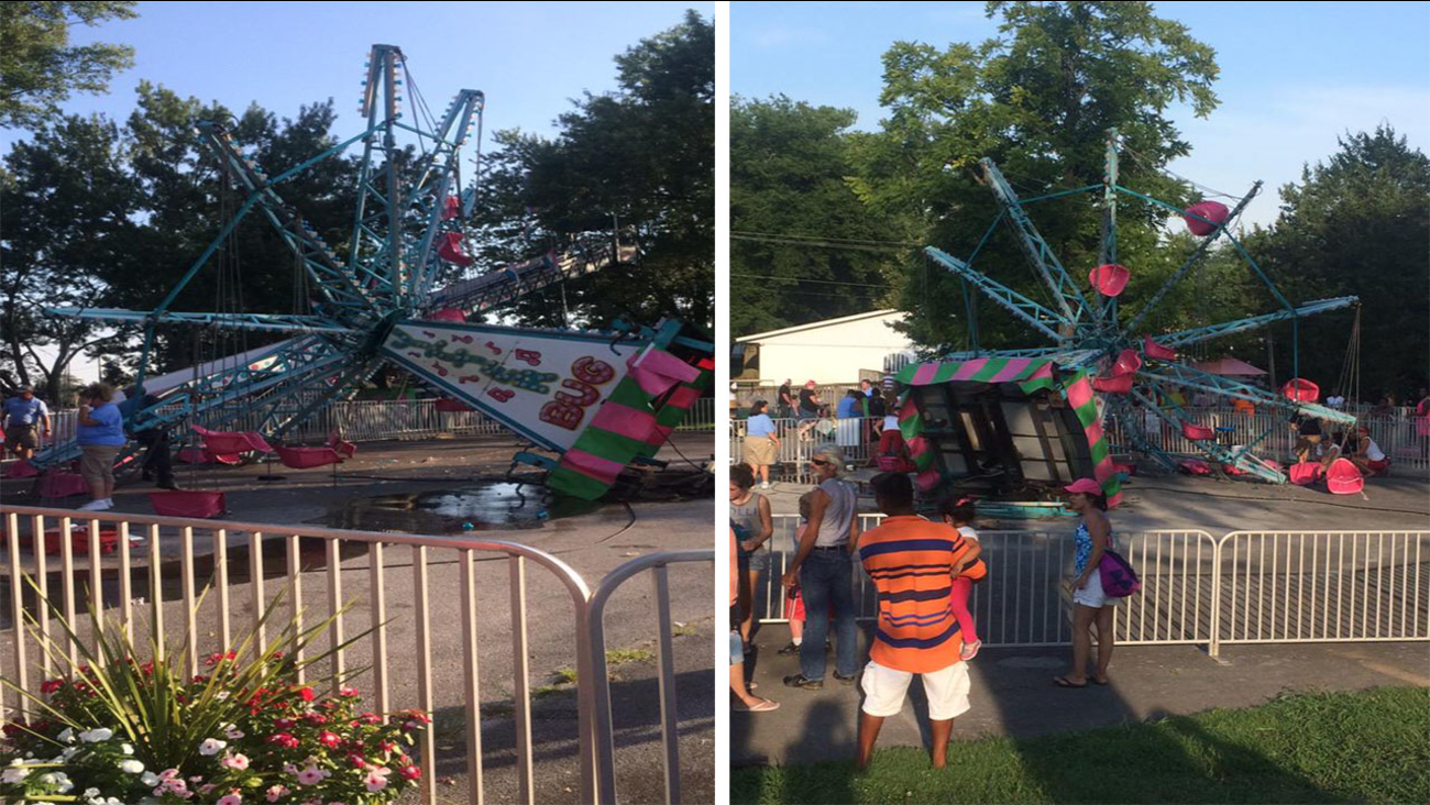 The ride that toppled over, injuring eight children