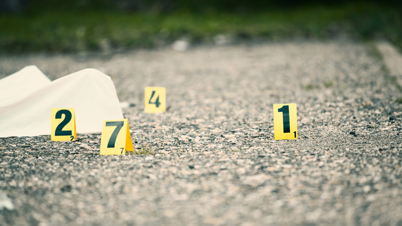 Numbers mark a crime scene in this undated photo.