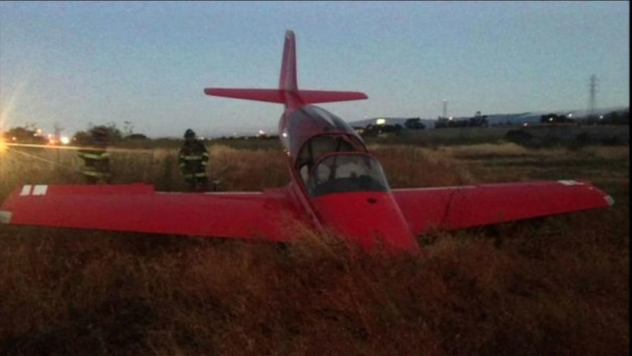 A small plane crashed while leaving a San Carlos, California airport on Saturday, July 25, 2015.