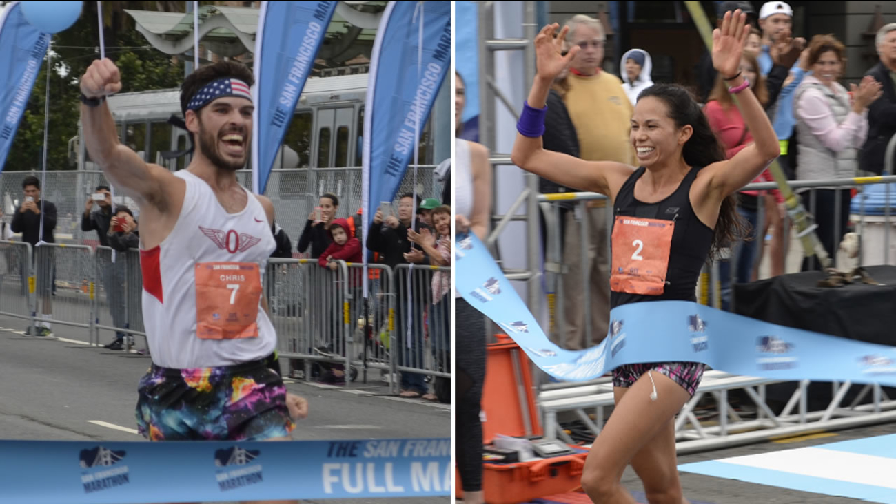 San Francisco's Chris Mocko, 29, and Berkeley's Anna Bretan, 30, won first place in the San Francisco Marathon on Sunday, July 26, 2015.
