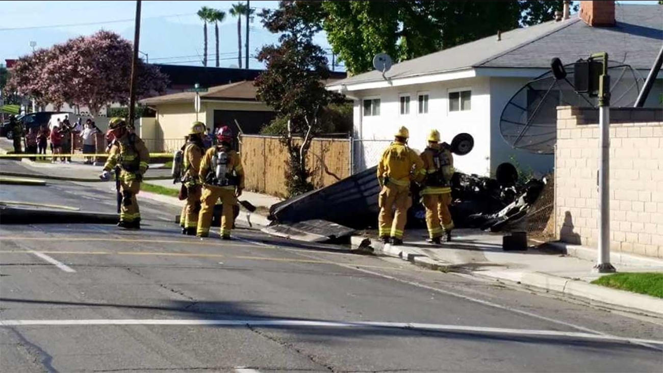 A small plane crashed near the intersection of Arlington Avenue and Adams Street in Riverside Sunday, July 26, 2015.